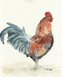 Original Watercolor Barnyard Rooster Painting, brown, red, 8 x 10