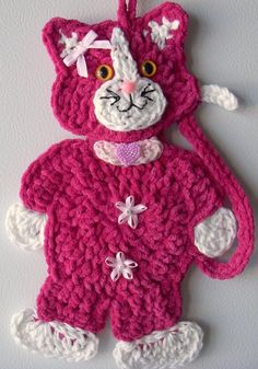 New ideas crochet cat applique pattern hello kitty Crochet Home, Love Crochet, Crochet Gifts, Crochet Motif, Crochet For Kids, Crochet Flowers, Crochet Stitches, Knit Crochet, Crochet Dolls