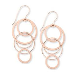 Sterling Silver Rose Vermeil Cascading Circles Earrings With Shepherd Hooks | Silver Earrings from J. Thomas Jewelers | Rochester Hills, MI