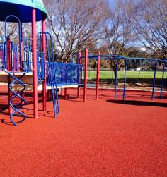 St. Aloysius School in Baton Rouge, LA is currently enjoying their new beautiful, terra cotta red rubber playground surfacing. No Fault recently installed No Fault Safety Surface (traditional poured-in-place) for the school's playground area, but we are not done yet....!!