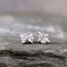 e1ba25000 Uncut Diamond Earrings - 1 Carat - Sterling Silver Stud Earring - April  Birthstone - Rough Raw Diamond Gemstone Earring - Made in Canada