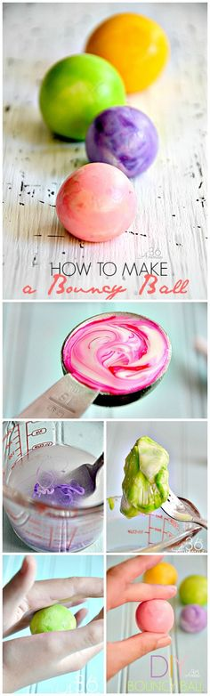 How to make a bouncy ball! Kid's favorite! Christmas Craft Projects, Diy Craft Projects, Crafts For Kids, Nature Activities, Indoor Games, Carnival Games, School Games, Fair Projects, Business For Kids