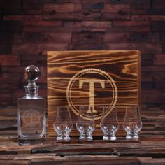 Personalized Whiskey Decanter, 4 Sniffers & Box