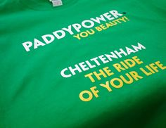 An order for Paddy Power printed today, three colour front, four colour back and both sleeves. looks great.    Many variations of inks and additives, pantone matches and attention to detail to make sure they looked perfect.    Regardless of the high level of detail with colours and setups we were able to turn the job around promptly and meet a tight deadline proving once again that we're an odds on certainty!!    Keep an eye out for these t-shi