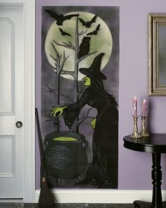 Add a bewitching touch to walls and windows with our wicked-witch-on-a-broomstick silhouette.How to Make the Witch Silhouette Find a Michaels Store Near You to Purchase Witch Silhouette In-Store Purchase Witch Silhouette From Martha Stewart Crafts Diy Halloween, Cheap Halloween Decorations, Outdoor Halloween, Holidays Halloween, Happy Halloween, Autumn Decorations, Haunted Halloween, Halloween Halloween, Martha Stewart Halloween