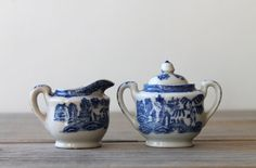 Vintage Japanese blue willow mini sugar creamer set / cottage chic decor / collectible decor / white / blue / Asian Victorian style / rustic on Etsy, $29.00
