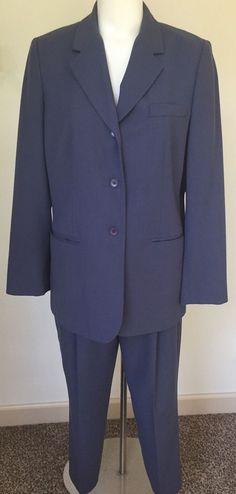 Womans Size 14 Eddie Bauer Career Wool Fully Lined Slate Blue Pants Suit  #EddieBauer