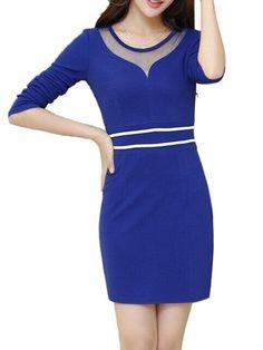 Trendy Round Neck Patchwork Bodycon-dress Bodycon Dresses from fashionmia.com