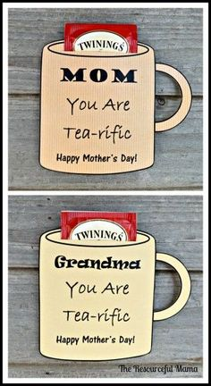 These free printable cards make the perfect mother's day gift for your tea loving mom or grandma. #mothercrafts