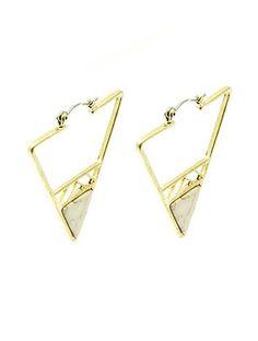 Gold Triangular Stone Drop Earrings from Helen's Jewels