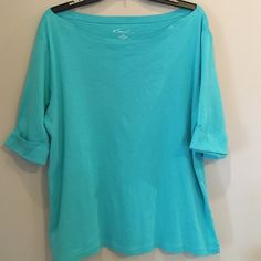 Kim Rogers Boatneck Top Turquoise Boatneck top with no signs of wear. The sleeves end at elbows and are cuffed. 100% cotton. Kim Rogers Tops Blouses