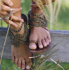 Stop it!! Absolutely besotted with these embellished sandals! Bohemian summer kicks at their finest! Basic leather sandals by The Naked Tiger and anklets by Grace Bijoux. Via Instagram.