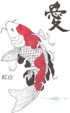 Koi Fish Drawings | kohaku koi fish by schwarze1 traditional art drawings other 2008 2013 ...