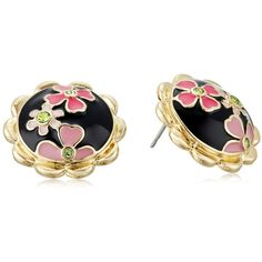 """Betsey Johnson """"Memoirs of Betsey"""" Multi-Flower Round Button Stud... ($35) ❤ liked on Polyvore featuring jewelry, earrings, floral earrings, studded jewelry, flower jewelry, betsey johnson and post earrings"""