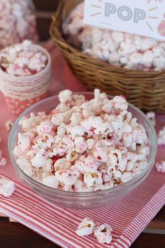 Strawberry Shortcake Popcorn With Freeze-dried Strawberries, Popcorn Kernels, Coconut Oil, Candy Melts, Vegetable Oil, Strawberry Cake Mix, Sprinkles