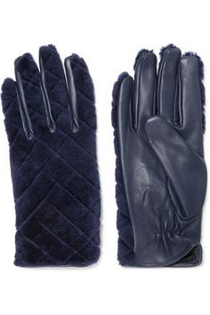 SANDRO WOMAN LEATHER AND SHEARLING GLOVES NAVY. #sandro #