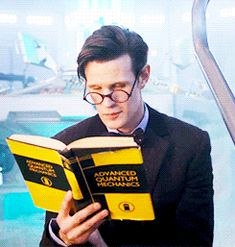 I find it funny that he's reading about advanced quantum physics