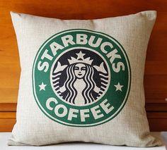 High Quality Fashion Style Starbucks Coffee Cushion Home Decorative Cojines Sofa Throw Pillow Cotton Linen Square Almofadas Sofa Throw Pillows, Cute Pillows, Linen Pillows, Throw Pillow Covers, Cushions, Food Pillows, Pillow Cases, Starbucks Coffee, Starbucks Drinks