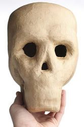 """8"""" Life size paper mache skull Paper Mache Mask, Paper Mache Crafts, Famous Mexican, Mexican Holiday, Battery Operated Lights, Hans Christian, Projects For Kids, Craft Supplies, Masks"""