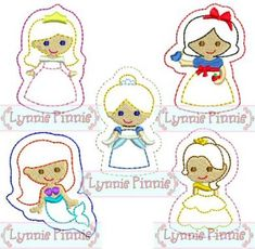 Embroidery Designs - Princess Felt Clippies SET 1 4x4 - Welcome to Lynnie Pinnie.com! Instant download and free applique machine embroidery designs in PES, HUS, JEF, DST, EXP, VIP, XXX AND ART formats.