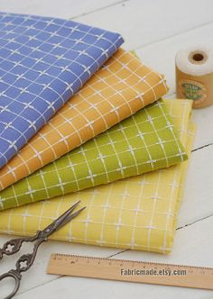 Bright Plaid Cotton Linen Fabric/ Yarn Dey Cross by fabricmade, $7.60