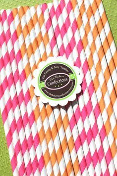 Paper Straws in Hot Pink and Orange Stripes by thebakersconfections