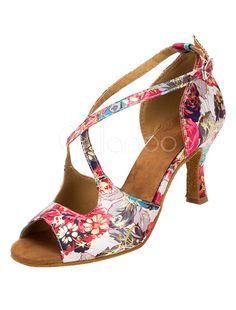 Salle de bal Vintage chaussures Floral talon évasé imprimé Croix sangle  avant chaussures de danse pour femmes c53b648ebde0