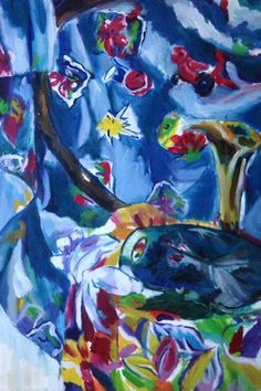 Still-life in Blues with Red Bird, original oil painting, 1991