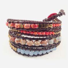 Shop online luxury Mediterranean wrap boho bracelets-brazaletes enrollables cuero y piedras