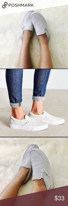 Vans Classic White Cracked Leather Slip On Vans Classic Cracked Leather Slip On. White / ivory color. Only worn once. As you can see from the photos, they are in a great condition! Literally goes with everything & good for any season. Size is women's 7.5 and they fit true to size. Real leather upper. Vans Shoes Sneakers