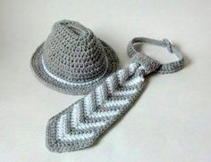 Crochet Baby Fedora Hat and Tie Set by JJBabyCrochet on Etsy, $30.00 DIY search for free cowboy hat pattern.