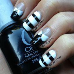The Adams Family nail art tutorial - Wednesday & Pugsley