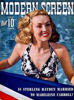 Betty Grable on the cover of Modern Screen magazine, August 1942, USA.