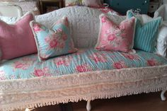 shabby chic sofa couch chenille bedspread by VintageChicFurniture, $1,450.00