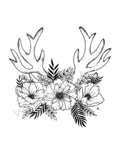 Digital Download Floral antlers pen and ink drawing 5x7