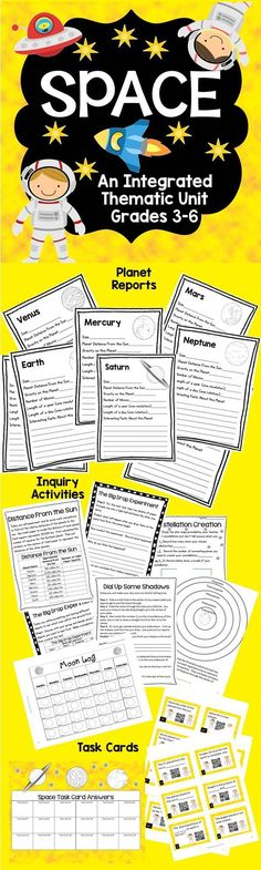Engage your students in this inquiry-based space unit.  Pages for planet reports, hands on inquiry activities, andreview task cards with QR codes.