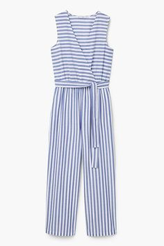 blue and white striped sleeveless jumpsuit High Street Fashion, Casual Dresses, Casual Outfits, Cotton Jumpsuit, Girl Fashion, Fashion Outfits, Look Chic, Jumpsuits For Women, Fashion Clothes