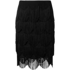 Marc Jacobs fringed skirt (4,380 PEN) ❤ liked on Polyvore featuring skirts, black, high waisted knee length skirt, high-waisted skirt, high-waist skirt, scalloped skirt and marc jacobs skirt