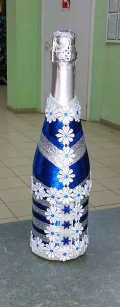 Gallery.ru / Оформление бутылки шампанского лентами - Оформление бутылок - neiray