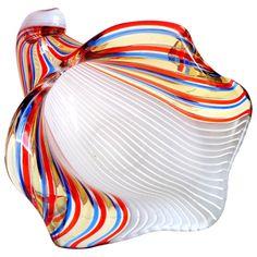 Dino Martens Aureliano Toso Murano Ribbons Italian Art Glass Seashell Bowl