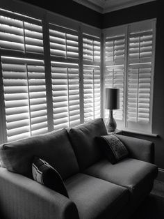 Add elegance to any room in your house. These Shutters have been fitted in a box. Add elegance to any room in your house. These Shutters have been fitted in a box bay window in Colchester. The louvres gives a contemporary feel . Bay Window Living Room, Living Room Grey, Home Living Room, Room Window, Bay Window Curtains, Interior Window Shutters, House Shutters, Bay Window Dressing, Classic Shutters