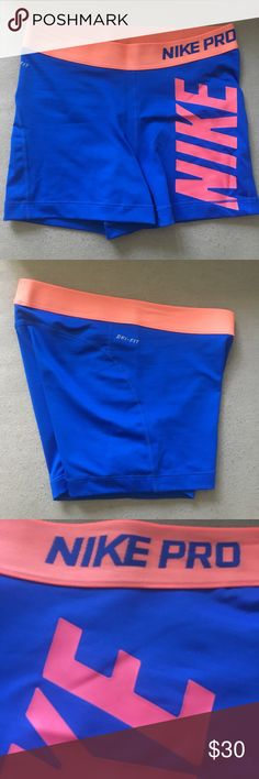Pink & Blue Nike Pro Compression Shorts Never worn. NWOT. perfect condition. Can't find them anywhere else! Nike Shorts