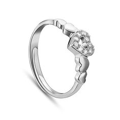 Beautiful 925 Sterling Silver Finger Ring, with Micro Pave AAA Zircon Hearts, Platinum; Size:about 18mm inner diameter(Adjustable), 7mm wide.<br/>Priced per 1