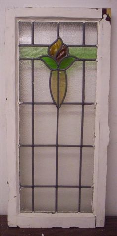 """LARGE OLD ENGLISH LEADED STAINED GLASS WINDOW Flower Design 15.5"""" x 34.25"""""""