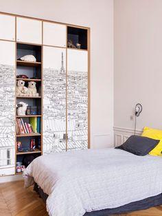 Parisian skyline = perfect girl's room wardrobe mural