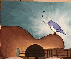 Song bird on guitar: acrylic painting on canvas