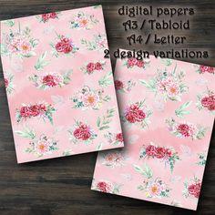 DIGITAL PAPERS Bloomy peonies with leaves rose. Printable | Etsy Digital Papers, Digital Collage, Paper Pocket, Peony Rose, Handwritten Letters, Printed Pages, Vintage Flowers, Vintage Floral