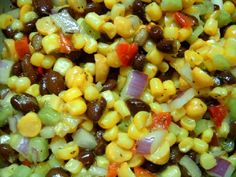 Black Beans, Garbanzo Beans, Corn, and diced Veggies mixed with sweet
