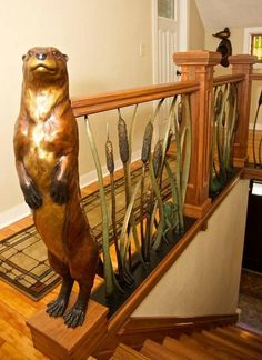 Adorable life size sculpture of a standing otter by renown wildlife sculptor, Rip Caswell, for sale. You will love this otter!