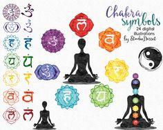 Watercolor Chakras Clipart, New Age Illustrations, Rainbow Colored Mandala, Chakra Graphics, Chakra Body Printable Namaste Clip Art C321 by StudioDesset on Etsy